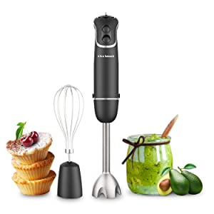 OXA Smart 500W Powerful 2-in-1 Immersion Hand Blender with Whisk, 12-Speed, 304 Stainless Steel, Blade Designed in California, Slip-proof Ergonomic Grip, BPA-Free, Kitchen Gadgets for Baby's Food