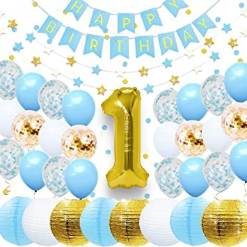 NICROLANDEE First Birthday Party Decorations Baby Shower Set Glitter Gold Lantern 1st Foil Balloon Letter Banner Star Paper Garland And Confetti For