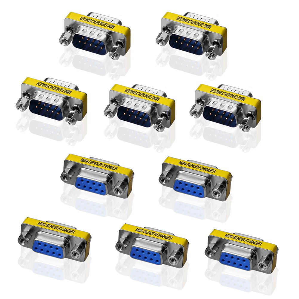 SIENOC 5pcs 9 Pin RS-232 DB9 Male to Male 5pcs Female to Female Serial Cable Gender Changer Coupler Adapter Pack of 10