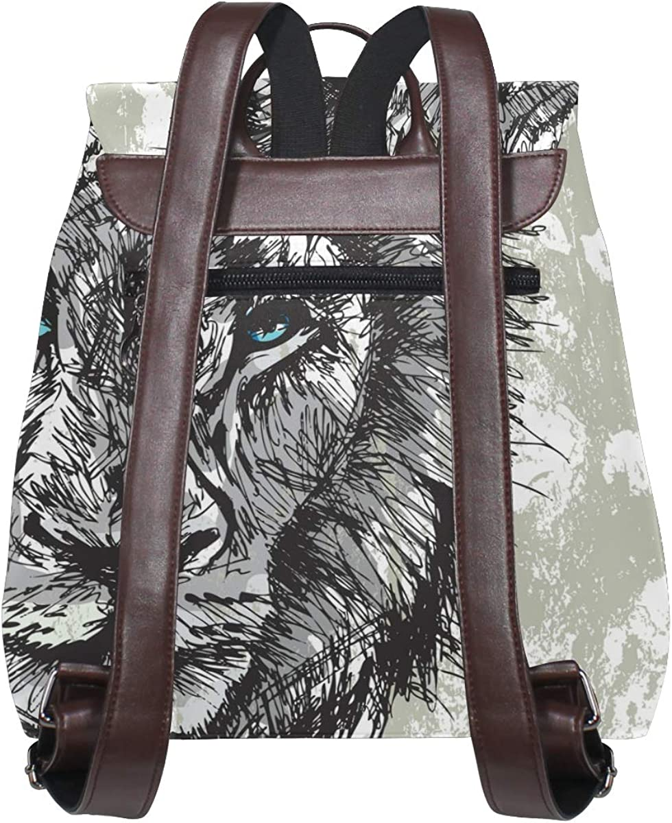 KEAKIA Women PU Leather Big Lion Backpack Purse Travel School Shoulder Bag Casual Daypack