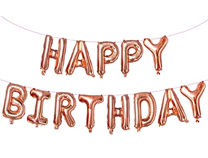 Amazon Trooer Hanging Happy Birthday Foil Balloons Rose Gold