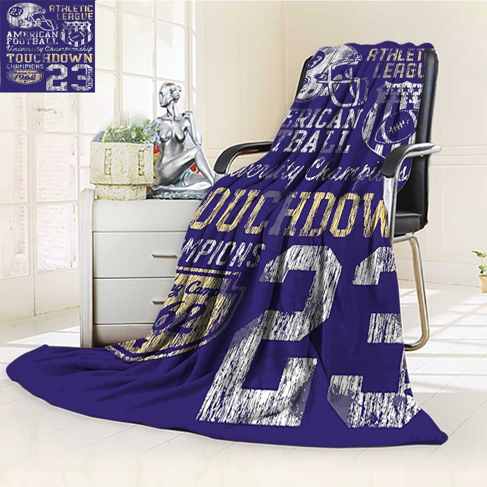 Digital Printing Blanket SportsFootball College Version Athletic Championship Apparel Blue White Yellow Summer Quilt Comforter