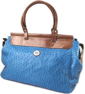 Les Trésors De Lily [P0461] - Sac créateur 'Scarlett' bleu autruche - 60x33x27 cm