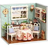 Flever Dollhouse Miniature DIY House Kit Creative Room With Furniture and Cover for Romantic Artwork Gift(Happy Kitchen)