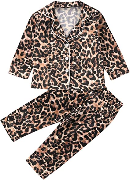Toddler Baby Kids Satin Pajamas Set Long Sleeve Button-Down Sleepwear PJs for Girls