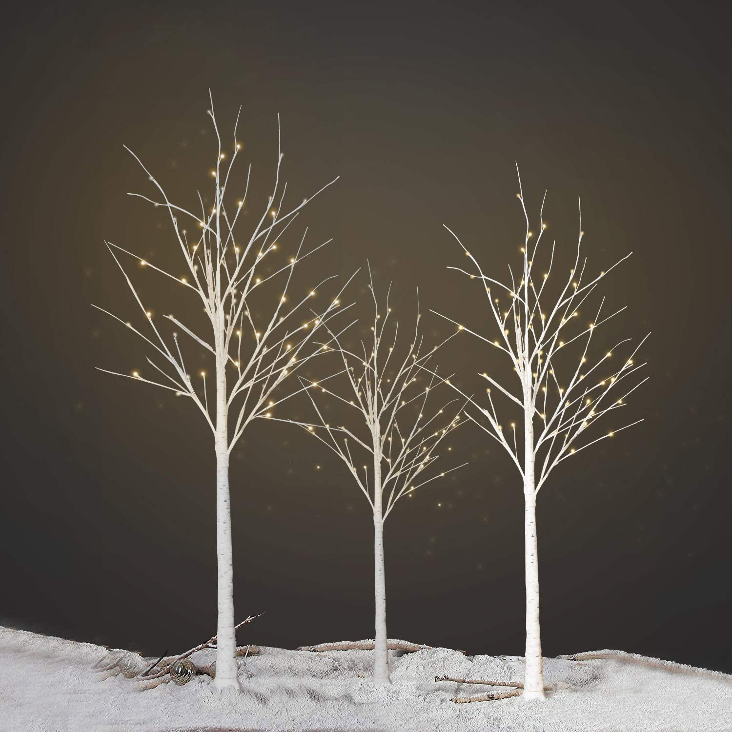 DKLGG 3 Pieces Birch Christmas Tree, 4FT 5FT 6FT Warm White LED Pre-lit Artificial Tabletop Bonsai Trees Light Jewelry Holder Decor for Home | Holiday | Party | Wedding