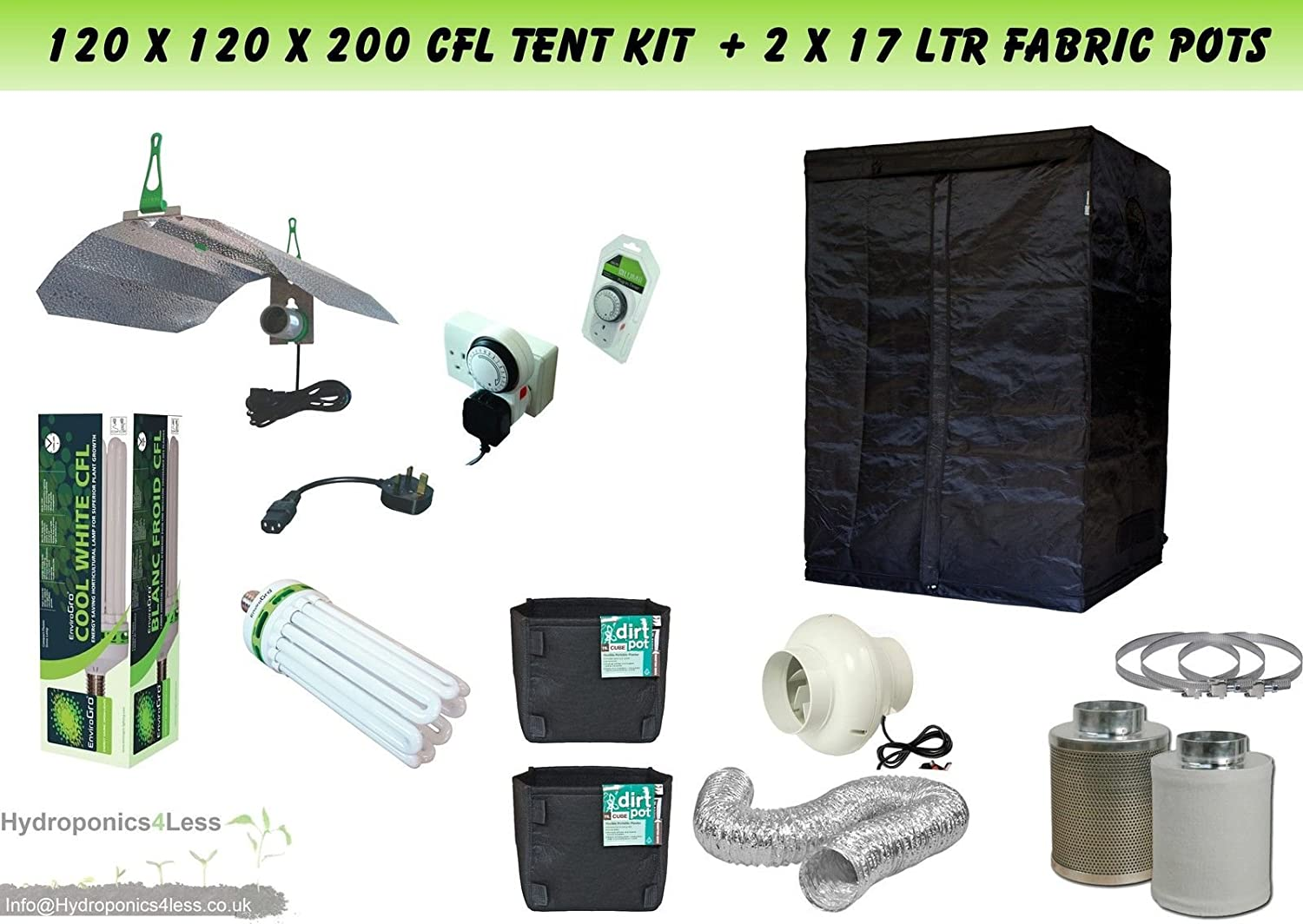Best Complete Hydroponic Grow Room Tent Fan Filter CFL Light Kit 120x120x200 (1.2 x 1.2 x 2 Meter(120x120x200) hydroponics4less