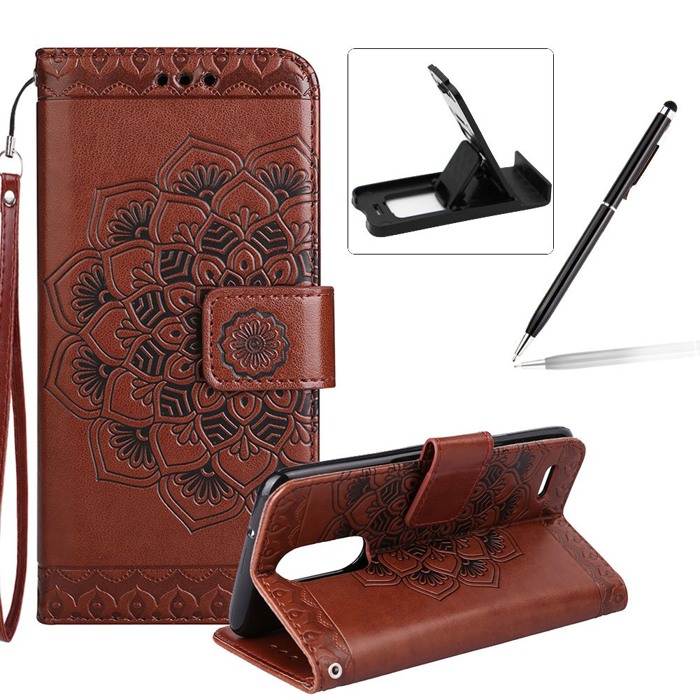 Rope Leather Case for LG G6, Strap Wallet Case for LG G6, Herzzer Bookstyle Classic Elegant Mandala Flower Pattern Stand Magnetic Smart Leather Case with Soft Inner for LG G6 + 1 x Free White Cellphone Kickstand + 1 x Free Silver Stylus Pen - Gray