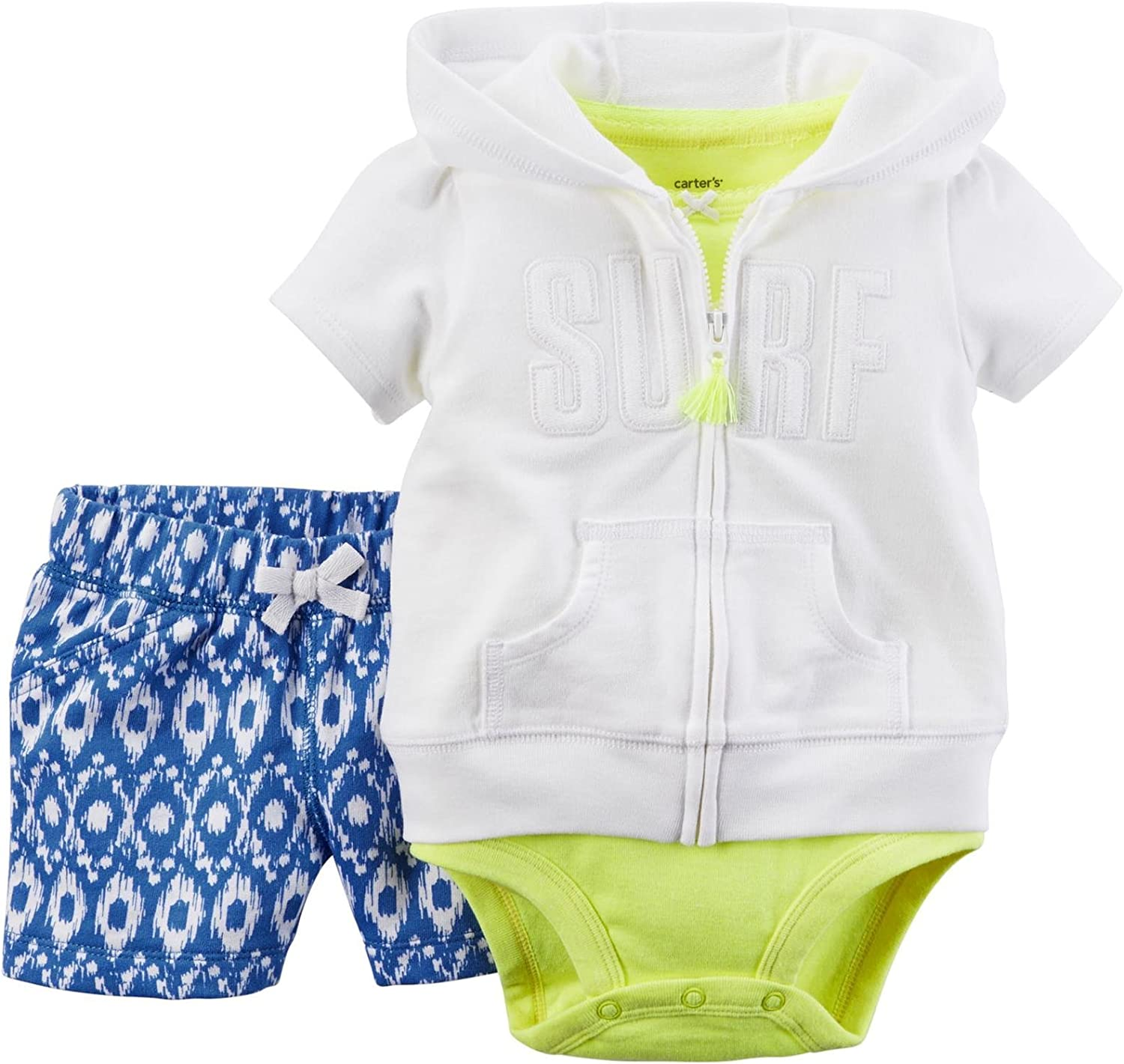 Carters 3 teilig Weste Body Shorts Baby M/ädchen Outfit Kleidung Girl Kurze Hose Sommer Strand