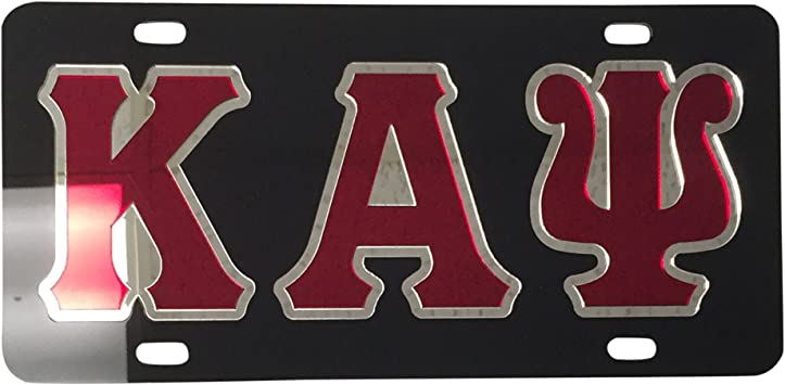 Kappa Alpha Psi Black Plastic License Plate Frame Greek Fraternity Letter For Front Back of Car