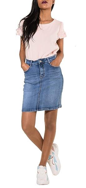 b3a10c8375 Nina Carter Falda Vaquera para Mujer Minifalda Jeans de Mezclilla Casual  Stretch Talla 34