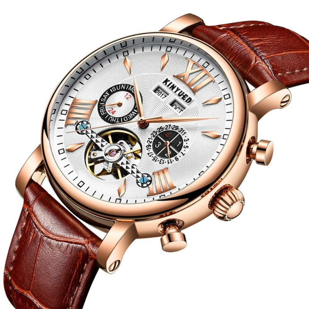 KINYUED Perpetual Calendar Watch for Men Luxury Fashion Tourbillon Mens Mechanical Watches Automatic Leather Wristwatches