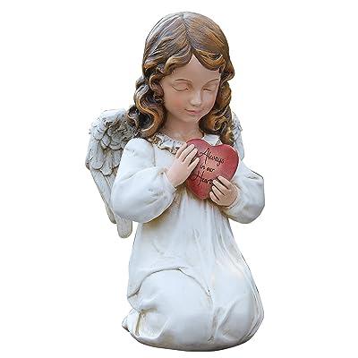 """11.75""""H MEMORIAL ANGEL W/HEART : Outdoor Statues : Garden & Outdoor"""