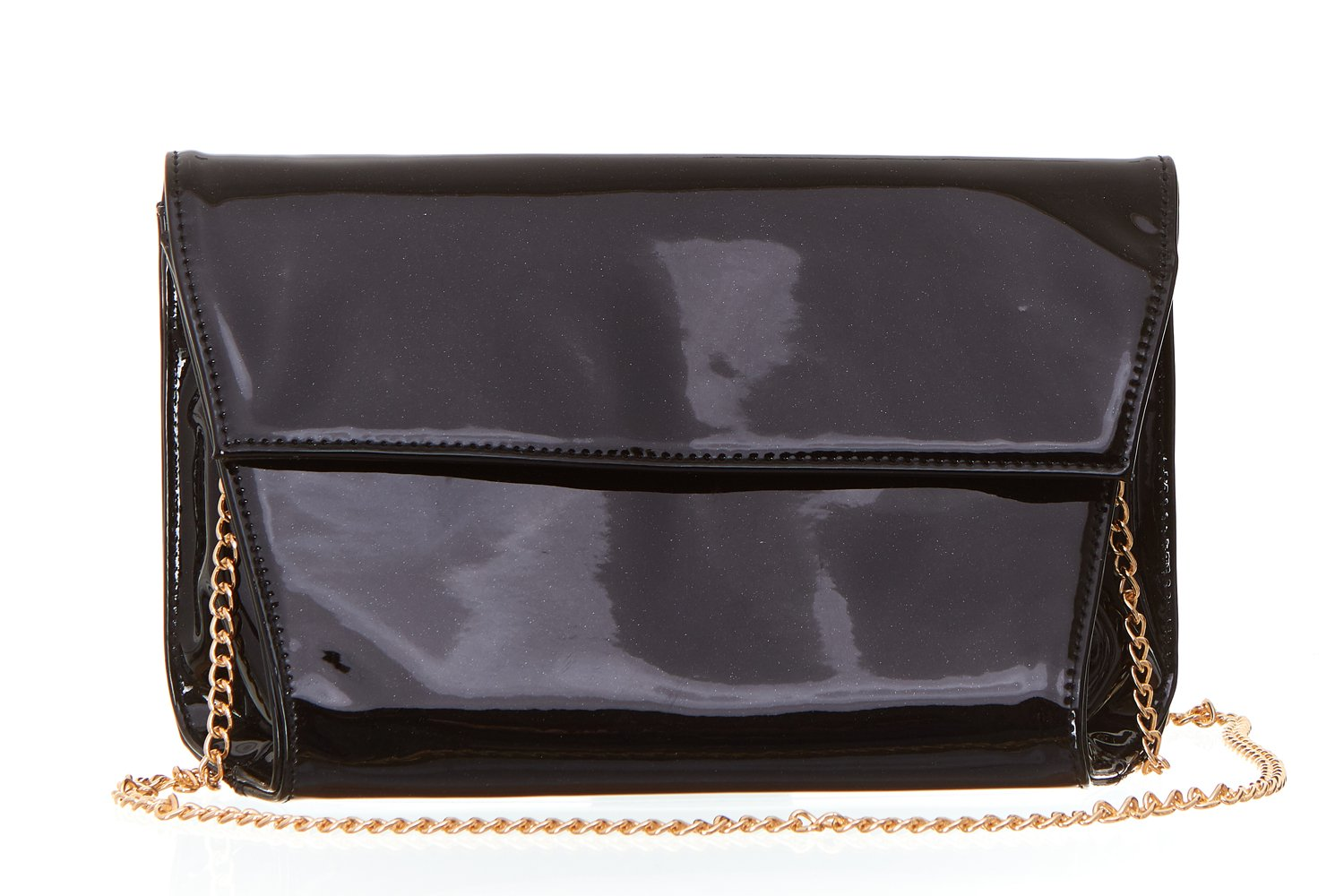 Women's Soft Patent Flap Clutch Handbag with Triangular Sides