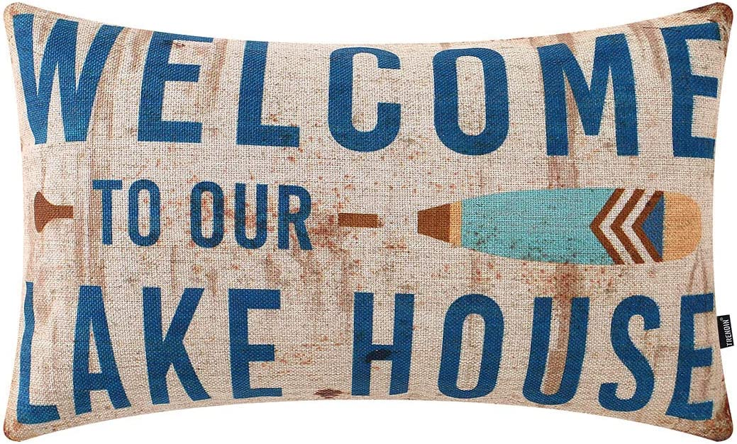 TRENDIN Rusted Blue Welcome to The Lake Lumbar Pillow Cover 12x20 Inch for Lake Life Theme Decor Couch Sofa Pillowcase Cotton Linen PL652TR
