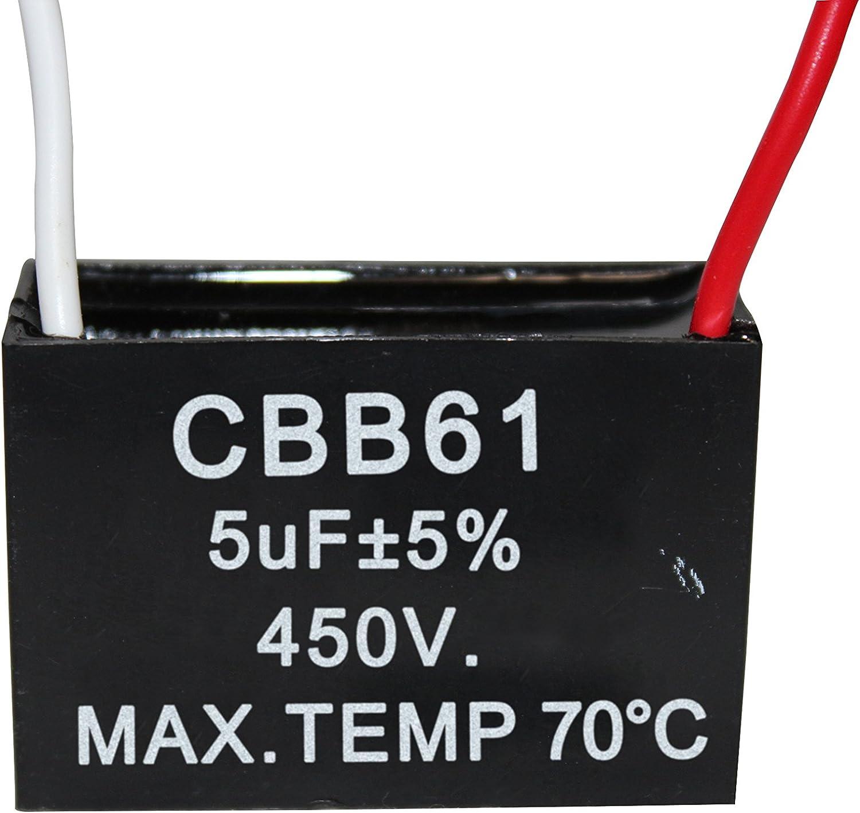 CompStudio 2Pcs 5UF 450V AC CBB61 Ceiling Fan Capacitor 2 Wire 50//60Hz