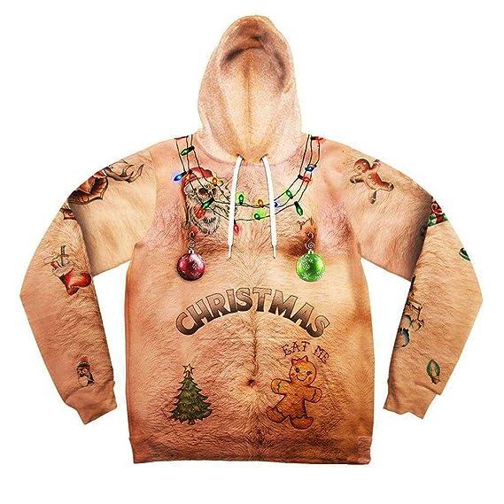 riou Hombre Unisex Sudaderas con Capucha Impreso Arte Suéter Cuello Redondo de Mangas Largas con Varios Estilos Navidad Impresa en 3D con Bolsillo suéter ...