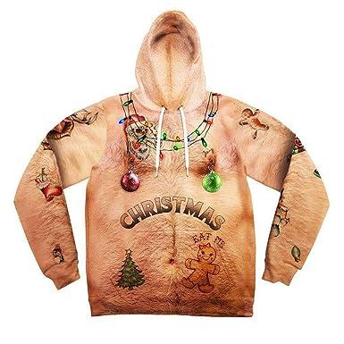 34bd35600e2b8 AIMEE7 Pull Noel Homme Sweat à Capuche Chic De Noël Sweat-Shirt Imprimé 3D  Pulls