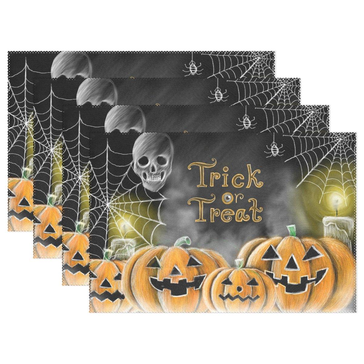 naanle Halloween Holidayプレースマット、ハロウィンパンプキンCobweb蜘蛛スカル非スリップ耐熱WashableテーブルPlaceマットキッチンダイニングテーブル用ホーム装飾 12 x 18 Inches 6332342p145c160s239-08 8 マルチカラー B07FQTWWCM