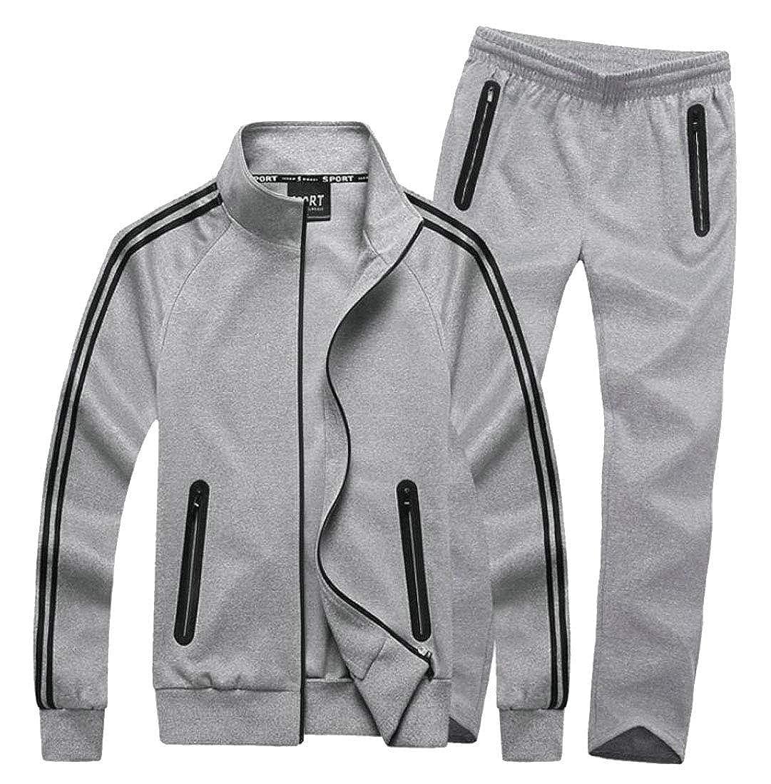 2 US Medium ouxiuli Men's Casual Full Zip Sports Jacket & Pants Jogging Tracksuit
