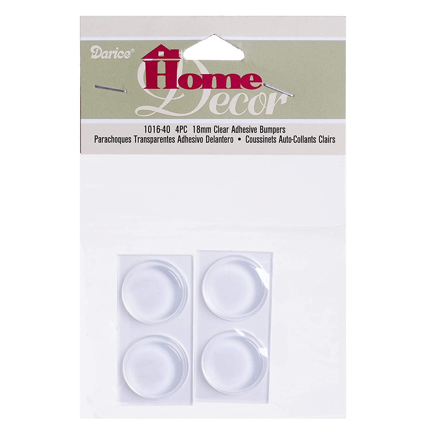 Darice Bumpers 18 by 5 Millimeter 4 Piece Clear Adhesive Back