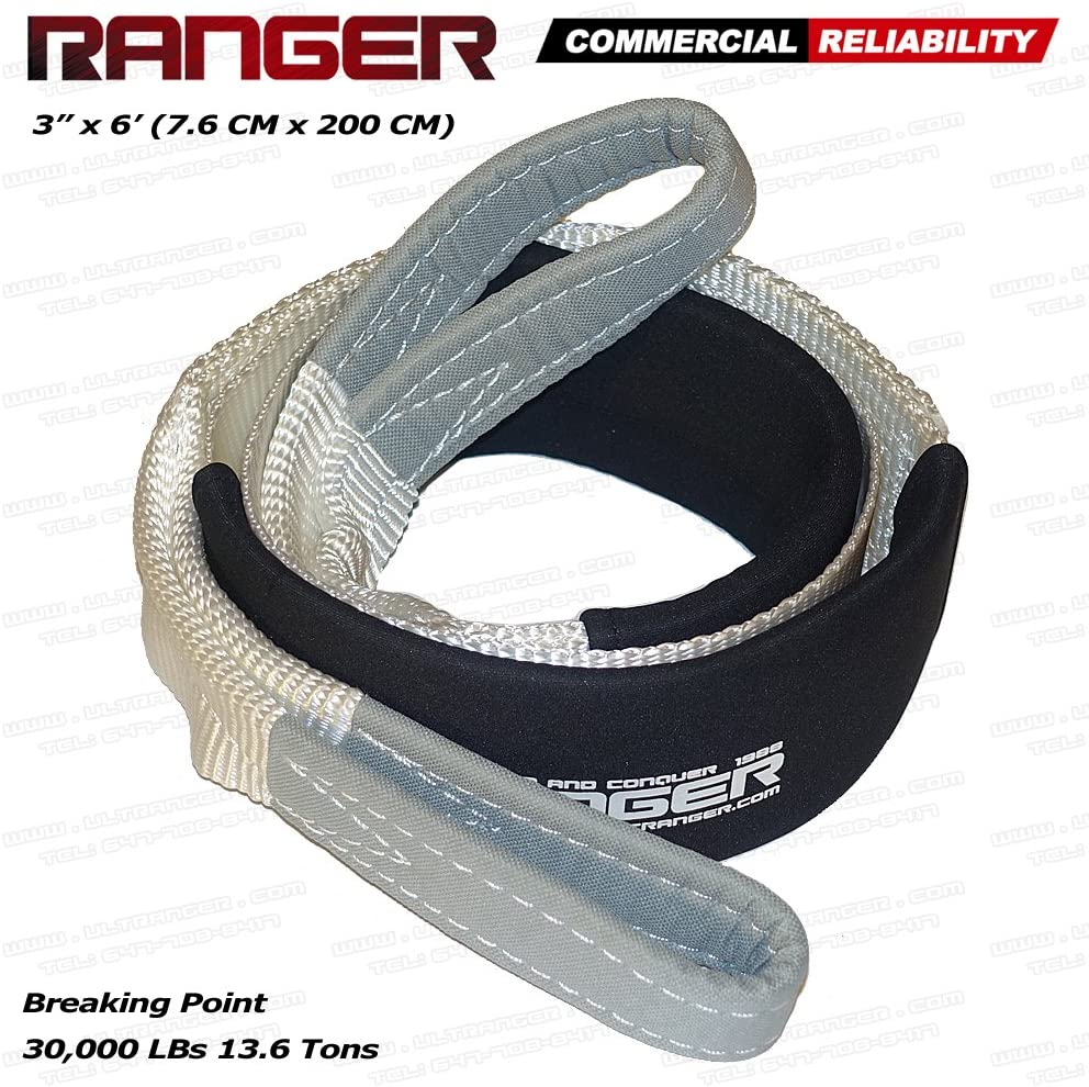 Ranger 3 x 20 Tow Strap Tree Saver Winch Recovery Heavy Duty Reinforced Loops Protective Sleeves 30,000 lb Breaking Capacity 13.6 Tons RANGER ULTRANGER