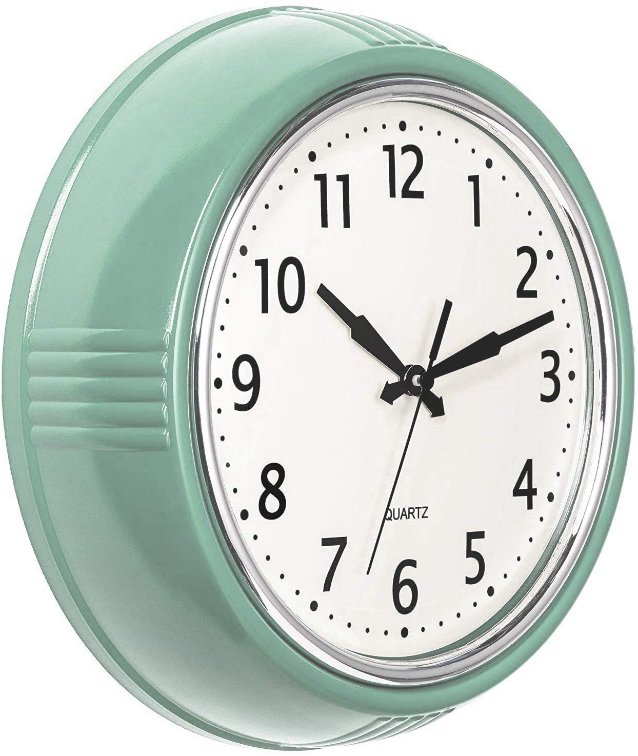 Bernhard Products Retro Wall Clock 9.5 Inch Green Kitchen 50's Vintage Design Round Silent Non Ticking Battery Operated Quality Quartz Clock (Seafoam Green)