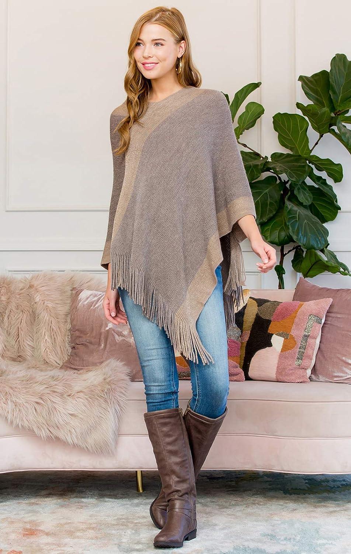 Plain V-Neck Classic Soft Knit Poncho Shawl Wrap Basic Warm Pullover Fringe Tassel Sweater Chunky Crochet Turtleneck