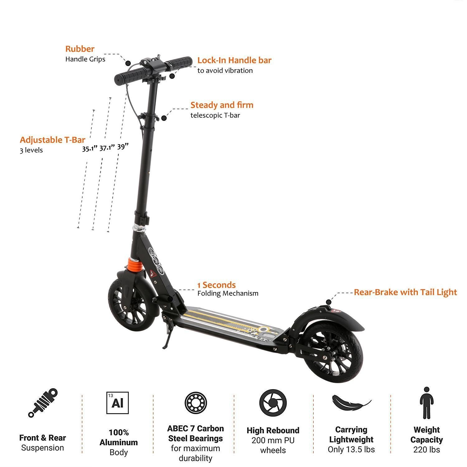 Keland Portable & Foldable 2 Wheel Kick Scooter with 3 Levels Adjustable T-bar for Adult & Teens, 220lbs(US Stock)