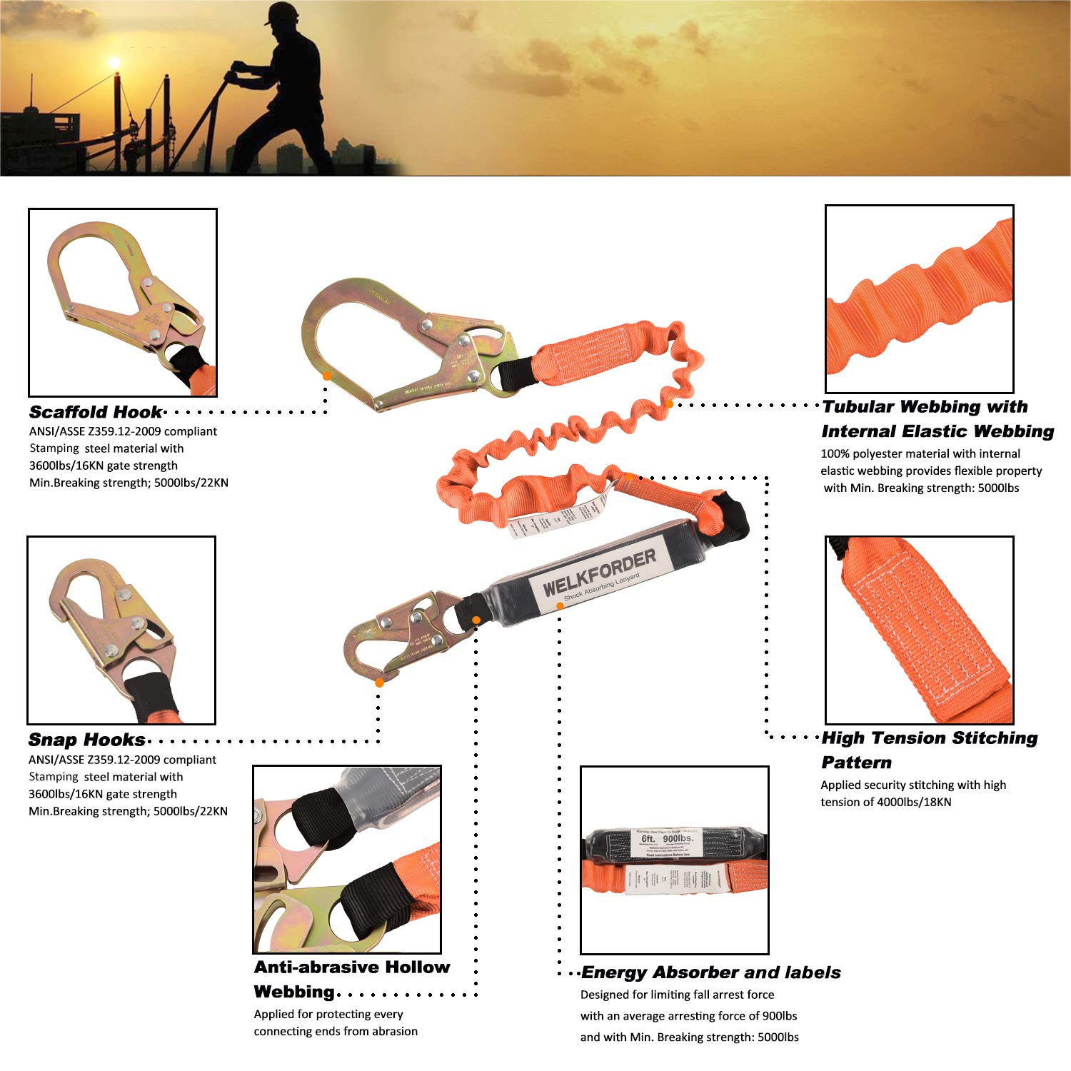 WELKFORDER Single Leg 6-Foot Fall Protection for Construction Shock Absorber Stretch Safety Lanyard with Snap & Rebar Hook Connectors ANSI Z359.13-2013 Complaint by WELKFORDER (Image #5)