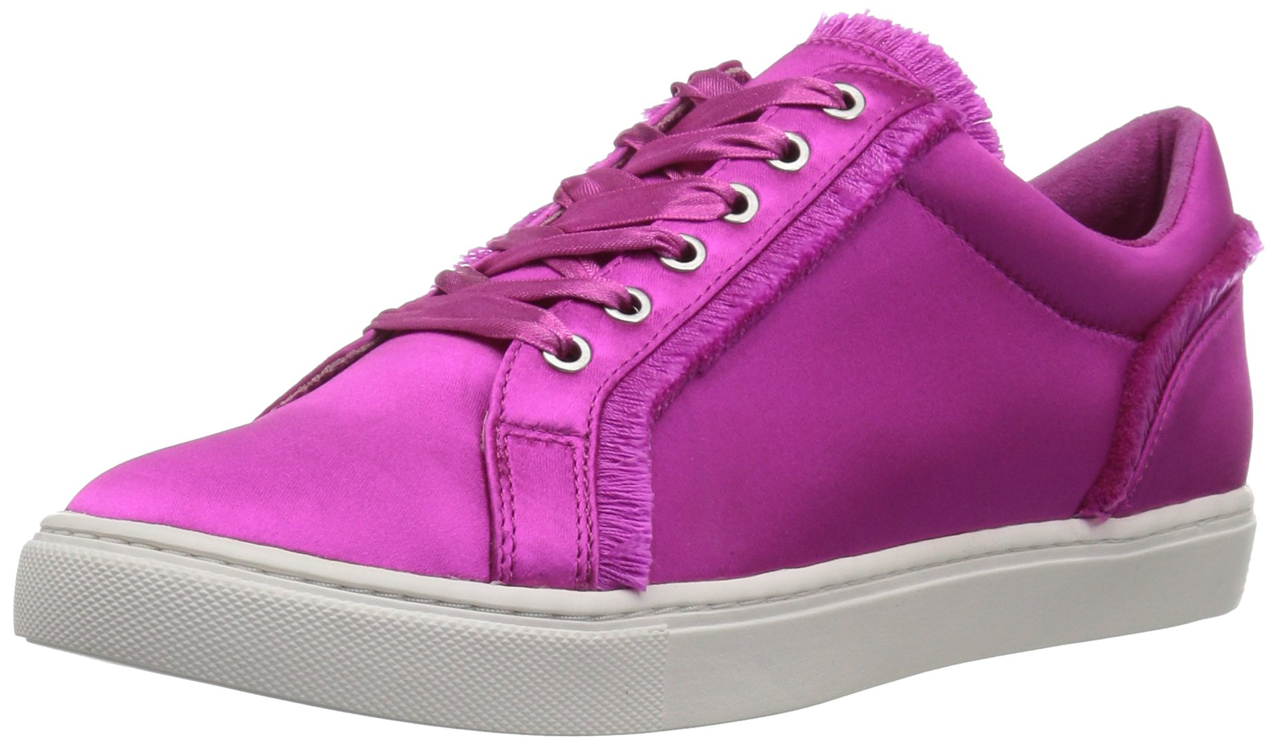 The Fix Women's Tinsley Frayed Silk Lace-up Sneaker, Bright Pink, 10 B US