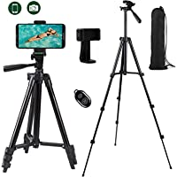 HSFHDSY Camera/Phone Tripod,Lightweight Aluminum Travel Tripod with Phone Holder/Bluetooth Remote/Carry Bag for Travel…