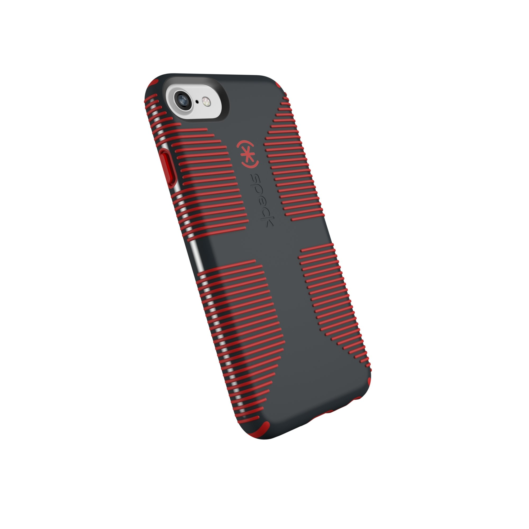 Speck Products CandyShell Grip Cell Phone Case for iPhone 8/7/6S/6 - Charcoal Grey/Dark Poppy Red by Speck