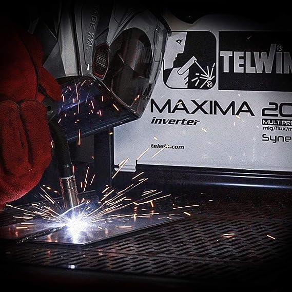 Telwin Elements Maxima 200 Multi Proceso synergic - Gas Soldador Mig/Mag Wig MMA Relleno alambre 20 - 170 a, 230 V, incluye relleno de alambre de manguera ...