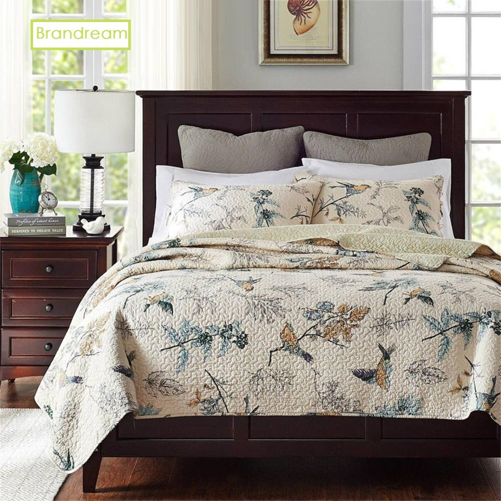 Brandream Bird Bedding King American Country Style Comforter Set King Size 100% Cotton Quilt Set Reversible