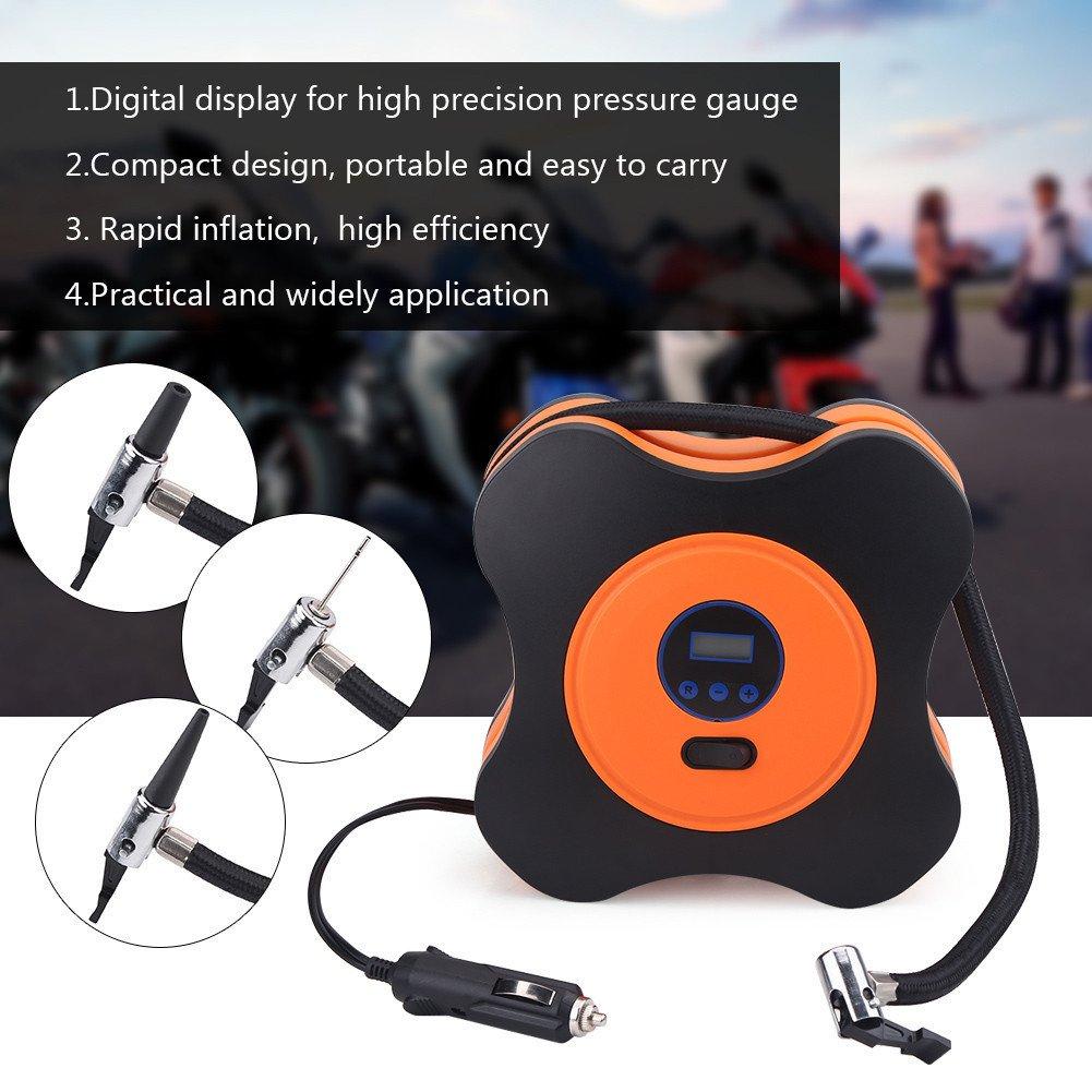 150 PSI for Car Bike 18 x 18 x 8 cm Black and Orange Portable Tyre Inflator 12 V Car Inflation Pump Digital Air Compressor