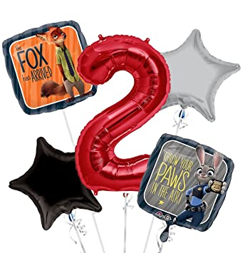 Amazon Zootopia Balloon Bouquet 2nd Birthday 5 Pcs