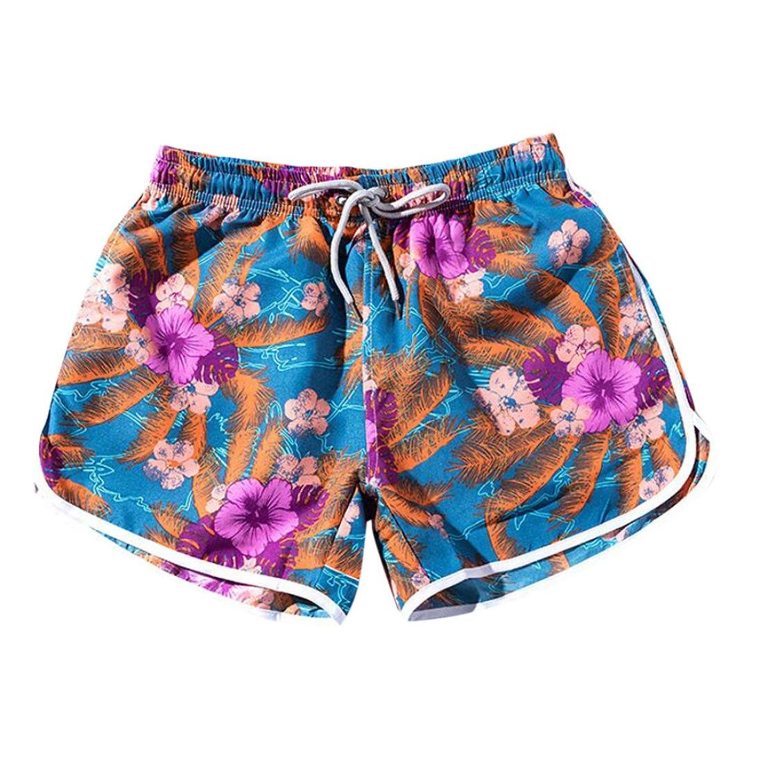 Inkach - Womens Drawstring Summer Shorts - Elastic Waist Floral Printed Beach Short Pants Mini Lounge Shorts (L, Blue)