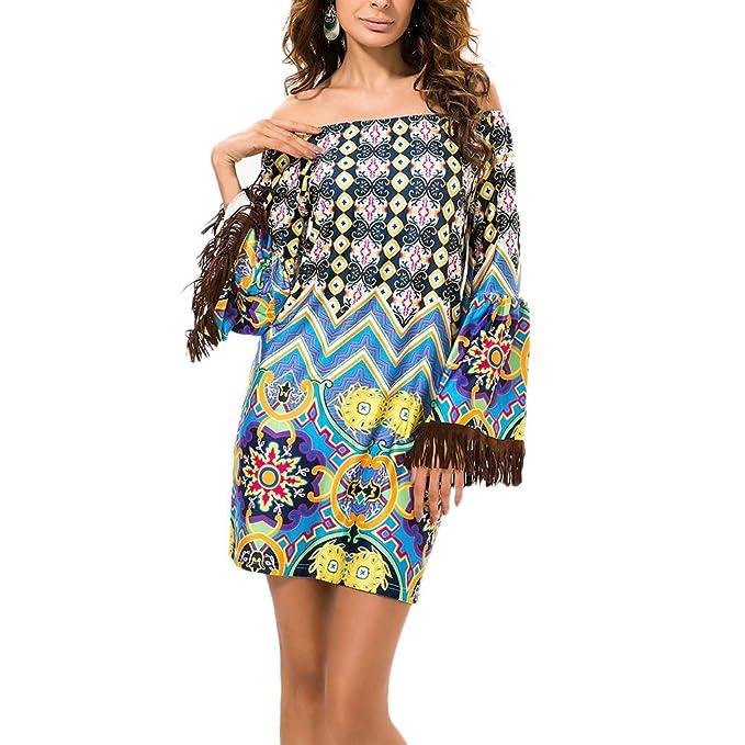 Zhhlaixing Moda Fashion Off Shoulder Womens Casual Dresses Summer Beach Chiffon Dress Colorful: Amazon.es: Ropa y accesorios