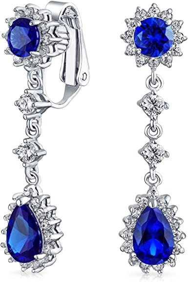 Details about  /Women Heart Silver Plated Crystal Rhinestone Earrings Long Drop Dangle Pageant