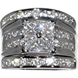 Contemporary 2.86 Ct. Cubic Zirconia Cz 3 Pc. Engagement Bridal Wedding Ring Set