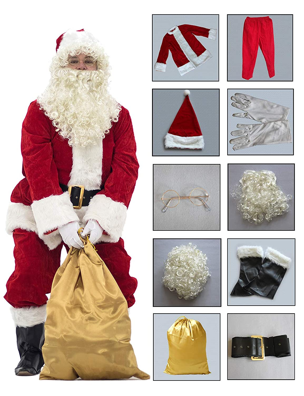 PAMPAS Crimson Regency Plush Santa Suit 10pc.