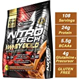 Muscletech Performance Series Nitrotech Whey Gold (Whey Protein Peptides & Isolate, 24g Protein, 5.5g BCAAs, 4g Glutamine, Gluten Free, Post-Workout) - 8lbs (3.63kg) (Double Rich Chocolate)
