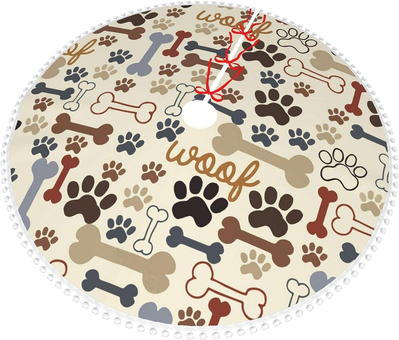 POUKOEY Dog Paw Prints Bones Christmas Tree Skirt, 36