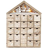 PIONEER-EFFORT Christmas Wooden Advent Calendar House with 24 Drawers and Led Lights Countdown to Christmas Decoration…