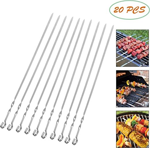 10x Outdoor BBQ Skewer Barbecue Sticks Stainless Steel Flat Skewers Utensil Sale