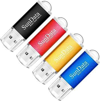 SunData Memorias USB 4 Piezas 32GB PenDrives 32GB Unidad Flash USB2.0 Pen Drive con Luz LED (4 Colores: Negro Azul Rojo Oro): Amazon.es: Electrónica
