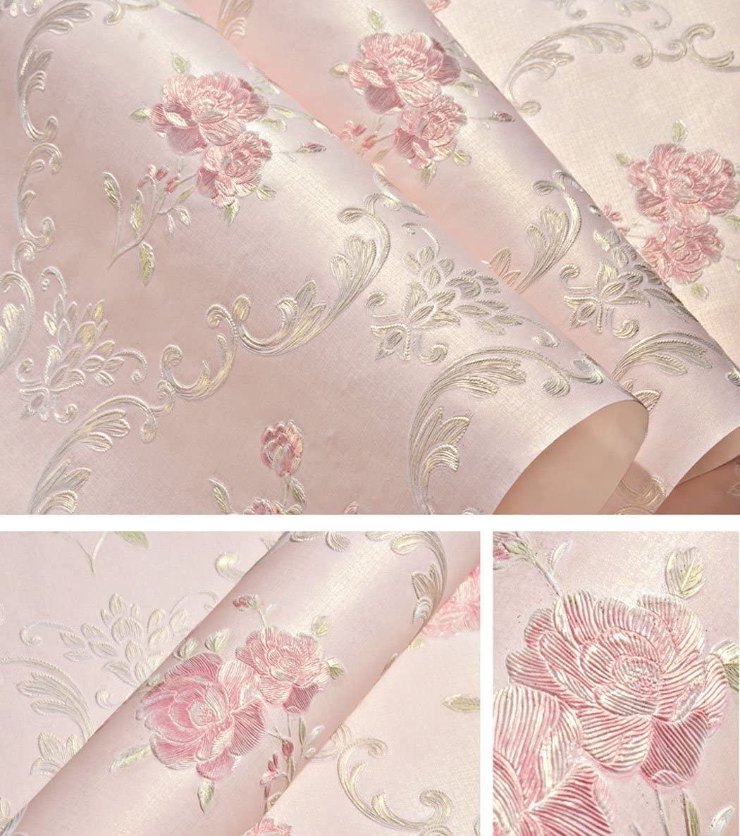 Embossed Rose Floral Contact Paper Self Adhesive Non-Woven Wallpaper Peel and Stick Wall Decor for Girls Living Room Bedroom Kitchen Bathroom Wall (Pink, 20.83