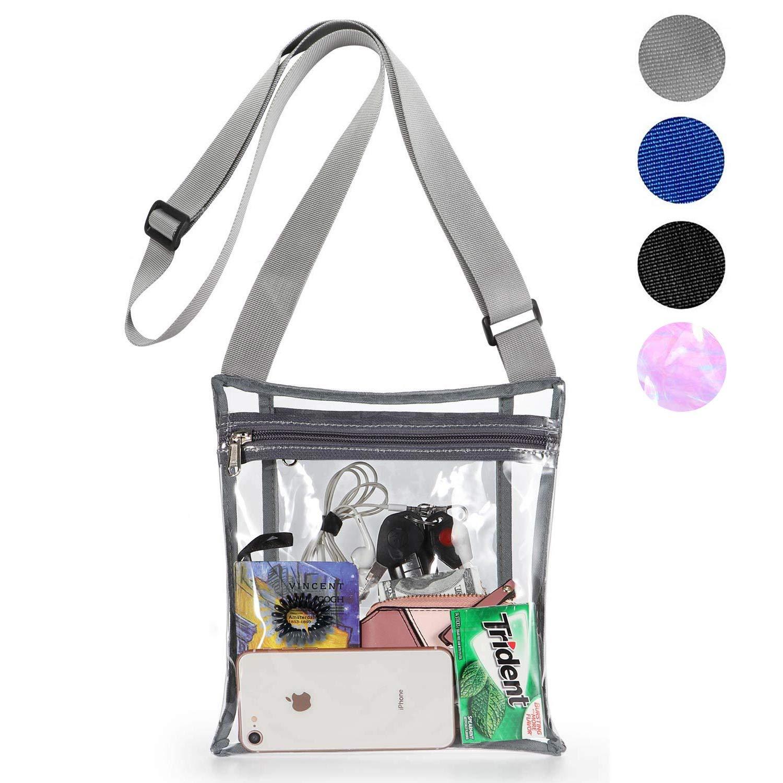 HULISEN Clear Crossbody Purse Bag Sports Games Concert Stadium Approved Bag with Extra Inside Pocket and Adjustable Shoulder Strap for Work School
