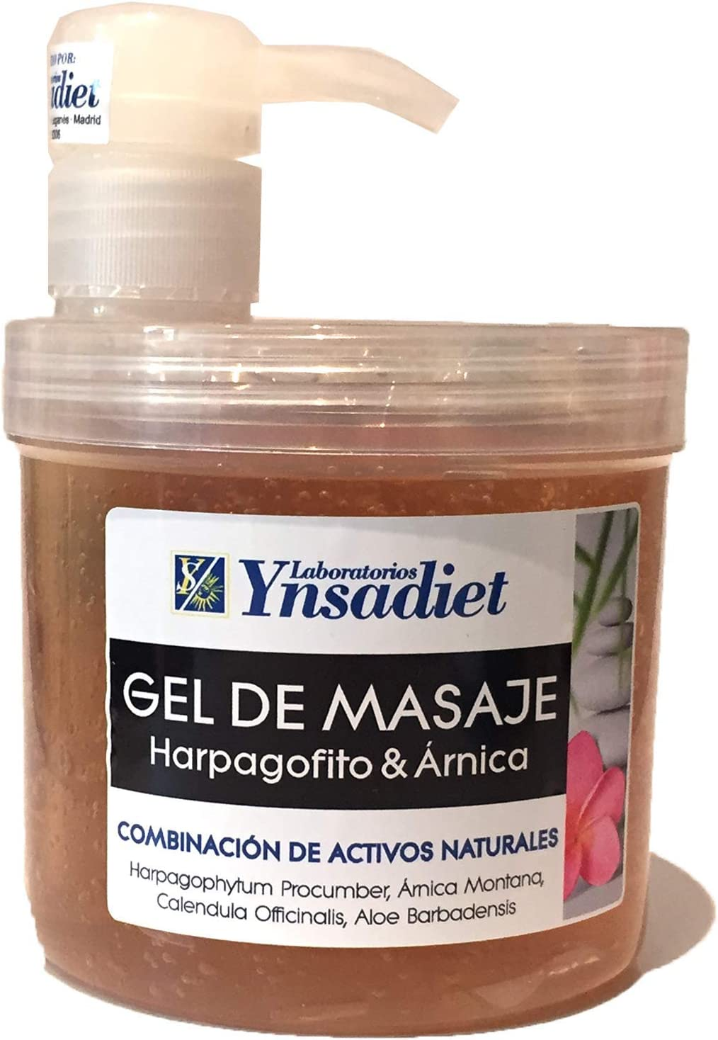 Ynsadiet gel masaje 500 ml árnica, harpagofito, caléndula, aloe, mentol. Dolor muscular, antiinflamatorio, dolores de cuello espalda,cervicales y articulaciones, absorción rápida efecto instantáneo